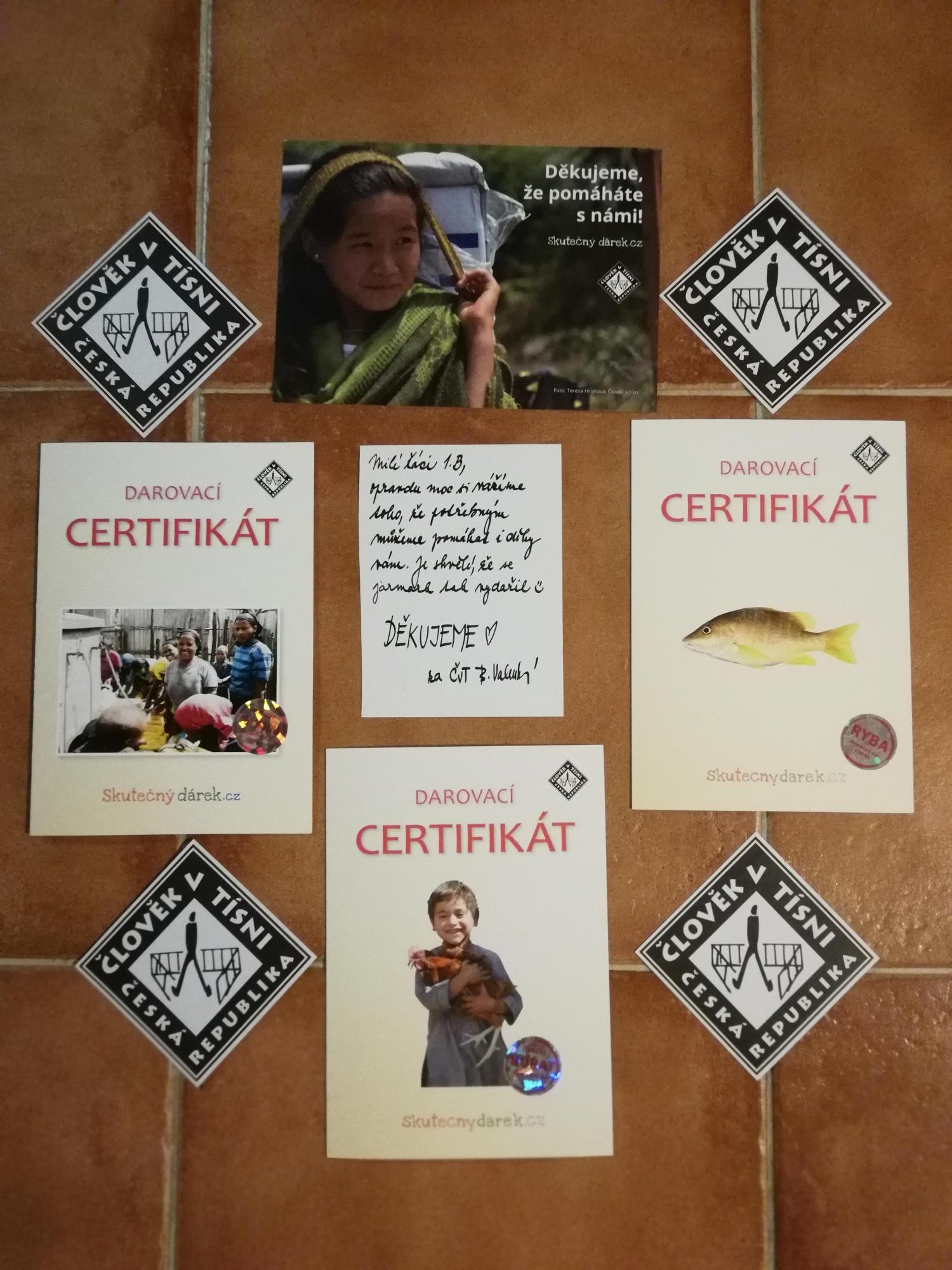 Darovací certifikáty