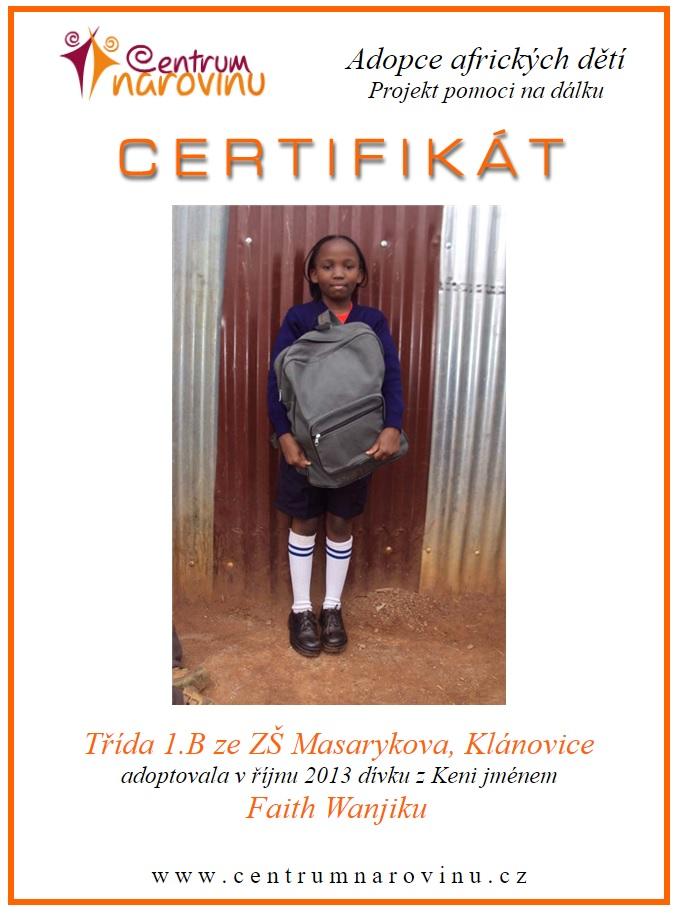 Certifikát o adopci afrických dětí